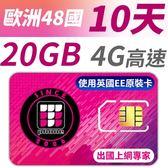 【TPHONE上網專家】歐洲全區48國20GB超大流量高速上網卡 支援4G高速 歐洲原裝卡最大流量 10天