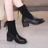 短靴女 中跟粗跟靴子 中跟彈力靴秋冬短靴圓頭襪子靴大碼中筒靴女韓版女鞋【多多鞋包店】ds5282