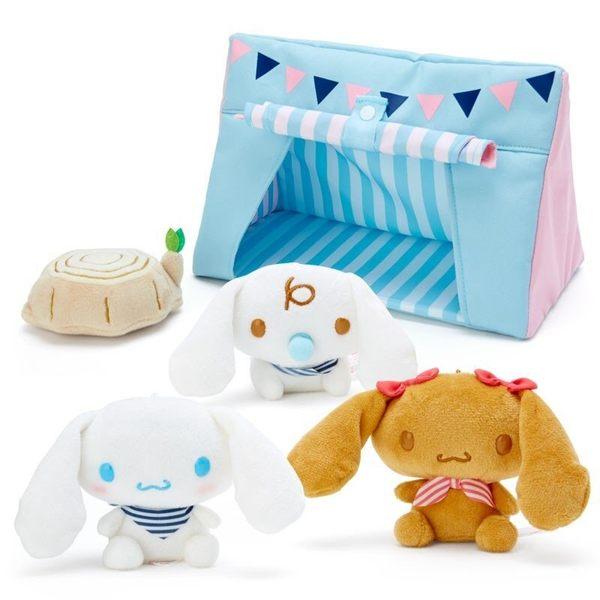 〔小禮堂〕大耳狗 絨毛玩偶娃娃屋組《藍.透明盒裝》擺飾.玩具.露營派對系列 4901610-29942