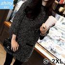 【V2204】shiny藍格子-小香風.寬松顯瘦OL長袖短裙兩件式套裝