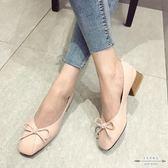 大碼低跟 蝴蝶結淺口方頭低跟女單鞋35-40 - 古梵希鞋包