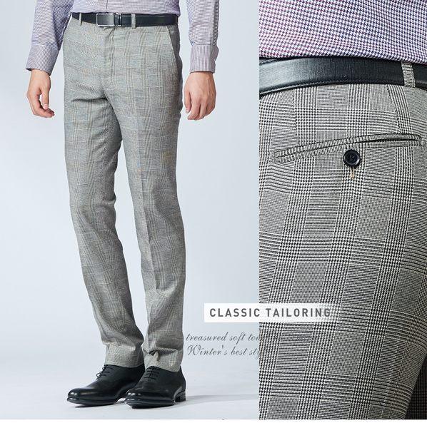 極品西服 時尚經典英倫格纹羊毛西褲_灰(BW702-1)