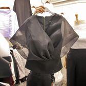 韓版2018春夏季新款氣質優雅V領落肩袖薄紗拼接短袖襯衫女上衣潮 春生雜貨