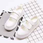 春款英倫複古休閒小皮鞋lolita日系圓頭平底學院魔術貼白色女單鞋