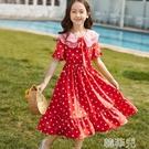 女童連身裙 新款女童夏裝女大童波點雪紡連身裙洋氣甜美公主裙夏季中長裙 韓菲兒