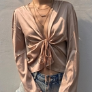歐美ins復古純色緞面絲滑綢緞V領顯瘦系帶打結開衫長袖防曬衣夏季
