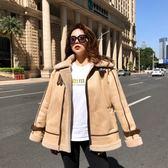2018新款短款韓版學生鹿皮絨皮毛一體冬季機車羊羔毛外套