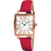 Folli Follie RETRO SQUARE 雅典女神腕錶-銀x紅皮帶/25mm WF16R012SPS-DR
