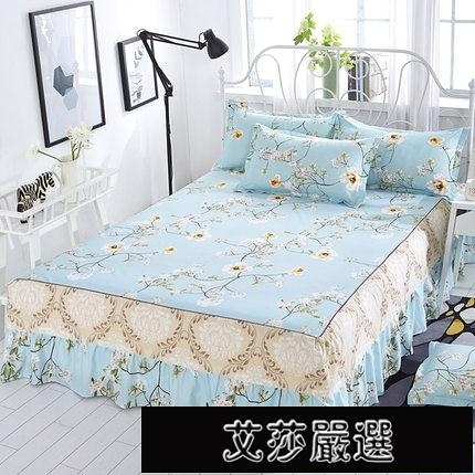 保暖床墊席夢思床罩床裙式床套單件防塵防滑保護套1.5米床單床笠【新年快樂】