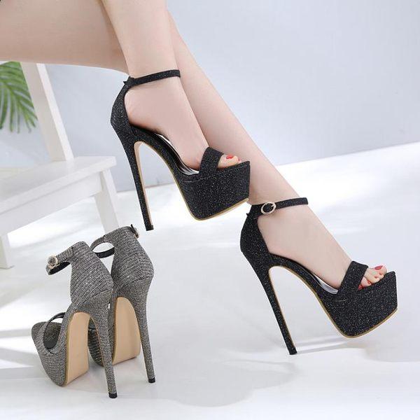 大碼高跟鞋40-45魚嘴鞋15CM超高跟女單鞋16cm恨天高涼鞋新款宴會 免運