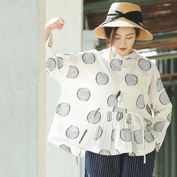 襯衫-素白色織緹花波點亞麻/設計家 SC379