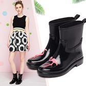 瑪索拉朵春夏新款時尚中筒防水雨靴防滑水鞋套鞋膠鞋成人雨鞋女【快速出貨79折促銷】