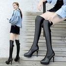 膝上靴交叉繫帶皮面縫線細高跟膝上靴長靴【02S10318】