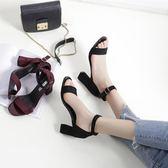 【優選】一字扣帶涼鞋女中跟高跟粗跟百搭正韓大碼女