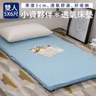 保暖透氣床墊;雙人5X6尺;5cm【藍】;搖粒絨表布;LAMINA樂米娜
