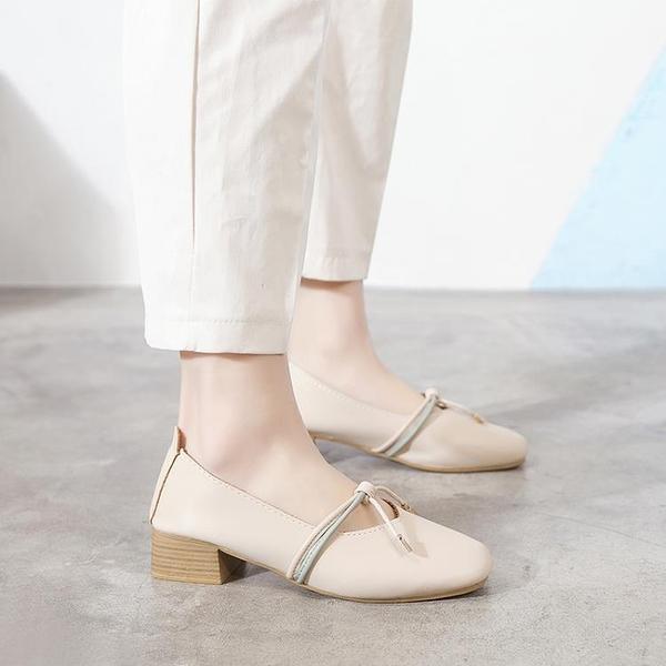單鞋 淺口單鞋女2020春夏季新款百搭中跟奶奶鞋粗跟仙女風晚晚豆豆鞋秋 印象