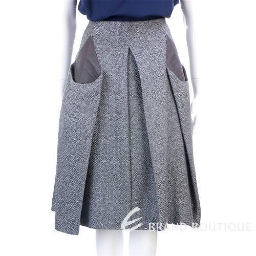 KENZO-antonio marras 灰色抓摺毛呢及膝裙 0840086-06