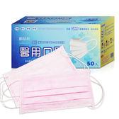 順易利 台灣製 三層平面醫用口罩(50片/盒)-粉紅色/醫療口罩