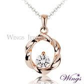 Wings 彩弧心鑽 八心八箭方晶鋯石美鑽項鍊 玫瑰金色款