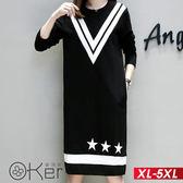 歐風簡約休閒磨毛長袖洋裝 XL-5XL O-ker歐珂兒 158010-1-C