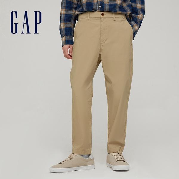 Gap男裝 商務風中腰直筒型休閒褲 911065-卡其色