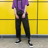工裝褲男寬鬆韓版潮流九分男褲子bf直筒哈倫褲原宿風 盯目家