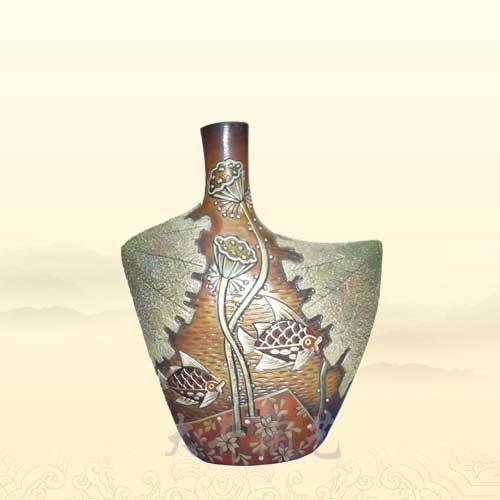 陶藝禮物禮品工藝品寬胸魚旺蓮豐花瓶裝飾品擺件