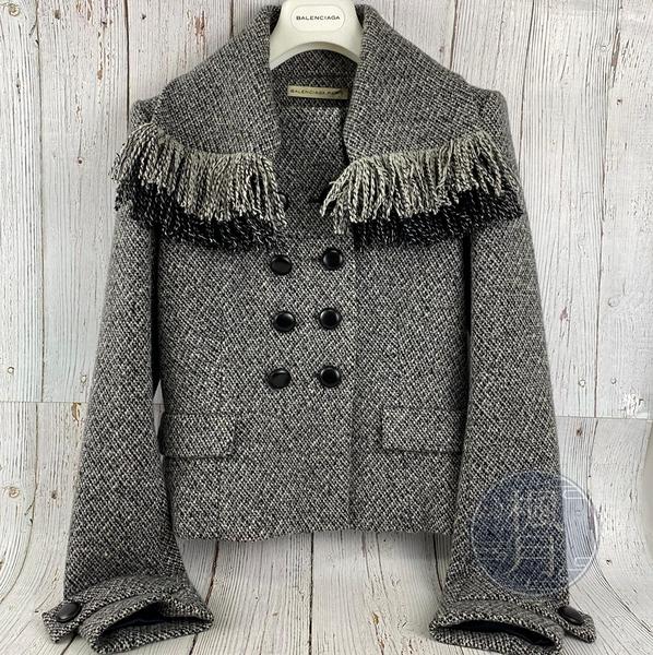 BRAND楓月 BALENCIAGA 巴黎世家 黑白 雙色 編織 流蘇 雙排釦 毛呢 外套