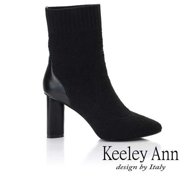 ★2018秋冬★Keeley Ann簡約美感~拼接布襪套式粗跟短靴(黑色) -Ann系列