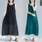 全網批發 大碼女裝短袖洋裝2742大碼連身裙飄逸文雅新款無袖寬松長裙LZ601C朵維思