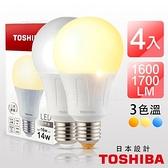 TOSHIBA東芝-4入組 第二代 高效球泡燈 廣角型 14W LED黃光3000K