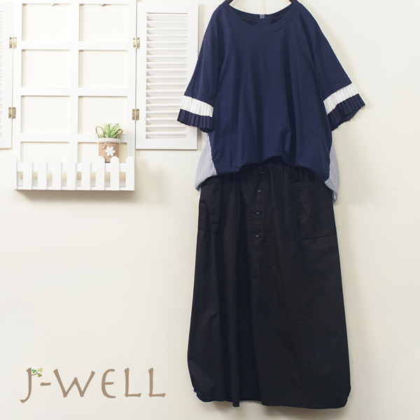 J-WELL 壓褶剪接袖條紋拼接上衣造型裙二件組(組合A323 8J1653藍+8J1568黑)