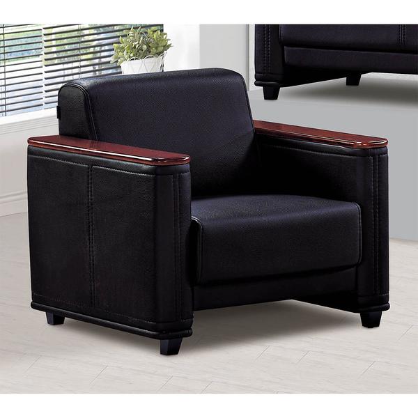 【森可家居】黑皮辦公室單人沙發 10SB635-5 公司商用空間