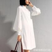 新款燈籠袖立領中長款襯衫女長袖寬鬆顯瘦時尚長款雪紡襯衫裙 聖誕節全館免運