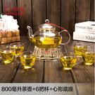 加厚耐熱玻璃茶具套裝透明過濾花草茶壺茶盤...