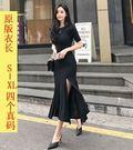 促銷價不退換韓國韓系東大門性感禮服短袖洋裝連身開叉長裙連衣莫代爾超舒適彈性好S-XL/T525.658