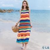 海邊度假沙灘裙女夏2020新款泰國波西米亞超仙大碼巴厘島連衣長裙 FX8011