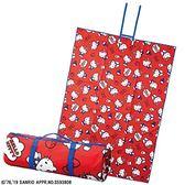 〔小禮堂〕Hello Kitty 攜帶式折疊手提野餐墊《紅藍.滿版》140x200cm.海灘墊.遊戲墊 4992272-66239