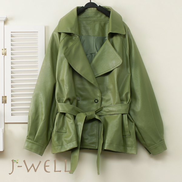 J-WELL 綁帶抹茶色皮衣外套 9J1173