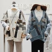 ※現貨 復古大V領格紋混羊毛針織外套/毛衣外套/開衫 2色【KN71262】