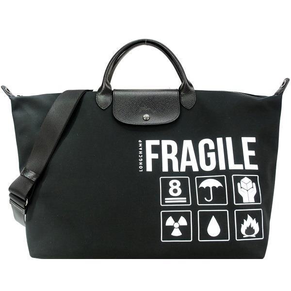 【南紡購物中心】LONGCHAMP SAC DE VOYAGE系列尼龍短把手提/斜背兩用旅行袋(大/黑)