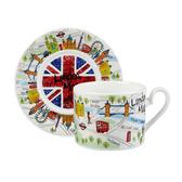 英國Churchill James SADLER 7oz(200ml)英倫杯盤組禮盒(倫敦地圖)