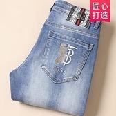 寬管褲 歐洲站尾貨男裝春季外貿出口原尾單牛仔長褲男高端刺繡春款男褲子