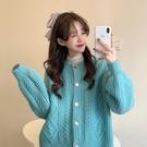 粉色毛衣女寬鬆外穿秋冬百搭外套2020新款慵懶風復古港味針織開衫