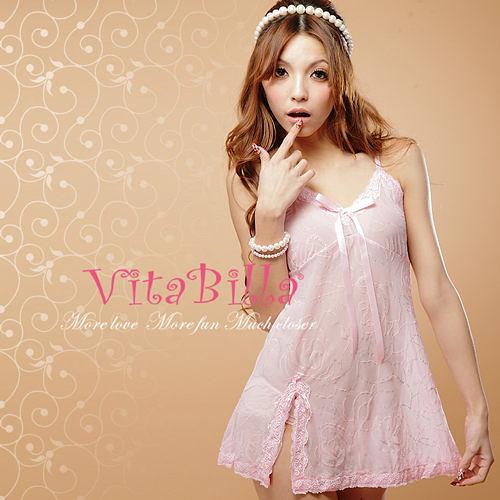 【伊莉婷】VitaBilla 粉粉最愛 睡裙+小褲 二件組