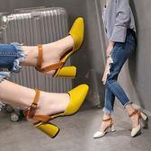 百搭粗跟漆皮小清新涼鞋-3色