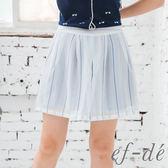 【ef-de】激安 夏日輕透感雙層短褲裙(粉藍)