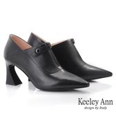 Keeley Ann  素面V 口羊皮前拉鍊粗跟包鞋黑色Ann 系列
