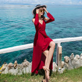 紅色海邊度假沙灘裙女夏2018新品小心機露背顯瘦連身裙 洋裝禮服長裙仙