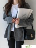 針織外套 春秋新品寬鬆慵懶風V領針織開衫外套洋氣短款毛衣女【降價兩天】